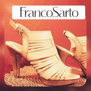 Franco Sarto Meggie Buff/ Strappy Sz9 Spike Heel